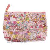 〔小禮堂〕Sanrio大集合 防水皮質船形化妝包《粉.45週年》收納包.筆袋 4901770-58345