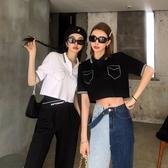 李婉君polo衫女短袖2020年夏季韓版針織T恤復古寬鬆高腰薄款上衣