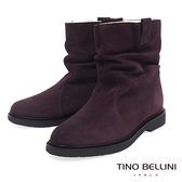 Tino Bellini義大利進口自然抓皺內鋪毛平底中筒靴_咖 B79207 歐洲進口款