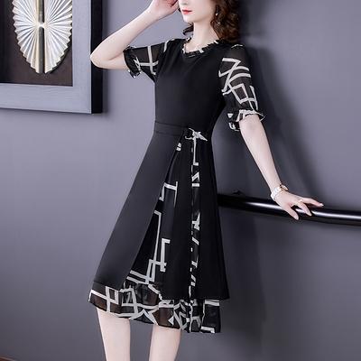 M-4XL洋裝高端大碼女裝胖mm法式顯瘦連身裙貴夫人減齡長裙N2F-A12-E胖妹大碼女裝
