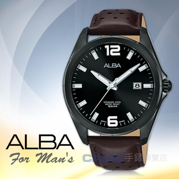 ALBA 雅柏 手錶專賣店 AS9D67X1 石英男錶 皮革錶帶 黑 防水100米 日期顯示 全新品 保固一年