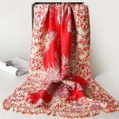 麗江復古民族風超大流蘇百搭棉麻圍巾加厚保暖秋冬長款女絲巾披肩