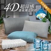 【三浦太郎】台灣精製。4D透氣銀離子抑菌獨立筒枕頭/四色任選藍色
