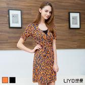 LIYO理優洋裝韓風優雅印花洋裝526010