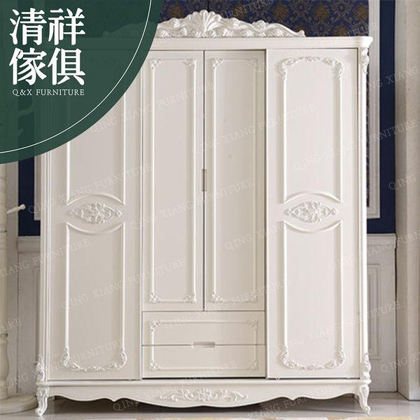 【新竹清祥傢俱】FBF-04BF12 法式浪漫象牙白推門衣櫃 新古典 法式 歐式 收納 衣櫃 臥室