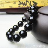 巴西黑瑪瑙手鍊男女款天然手串佛珠手飾 情侶水晶手鍊飾品 轉運珠 摩可美家