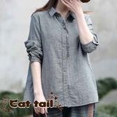 《貓尾巴》CH-03067 木耳邊格子長袖襯衫(森林系 日系 棉麻 文青 清新)