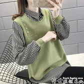 毛衣襯衫領假兩件女上衣針織衫春季新款韓版寬鬆百搭過年外穿毛衣