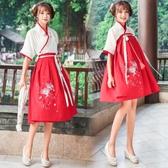 漢服女春夏季日常改良古裝漢元素學生刺繡中國風半臂民族復古交領