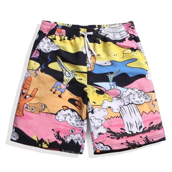 沙灘褲男寬鬆情侶套裝潮流速干大碼海邊度假短褲女五分泳褲花褲衩【萬聖夜來臨】