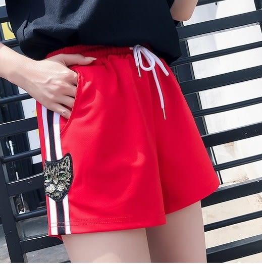 EASON SHOP(GU6475)側邊亮片貓咪喵星人高腰A字褲鬆緊腰運動短褲寬鬆短寬褲撞色條紋黑色紅色休閒熱褲