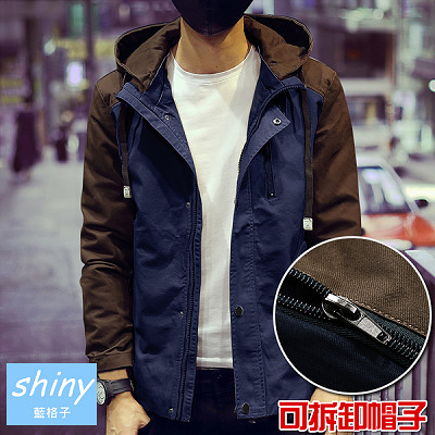 【Y025】shiny藍格子-輕閒時間.春秋季修身撞色拼接牛仔長袖連帽外套