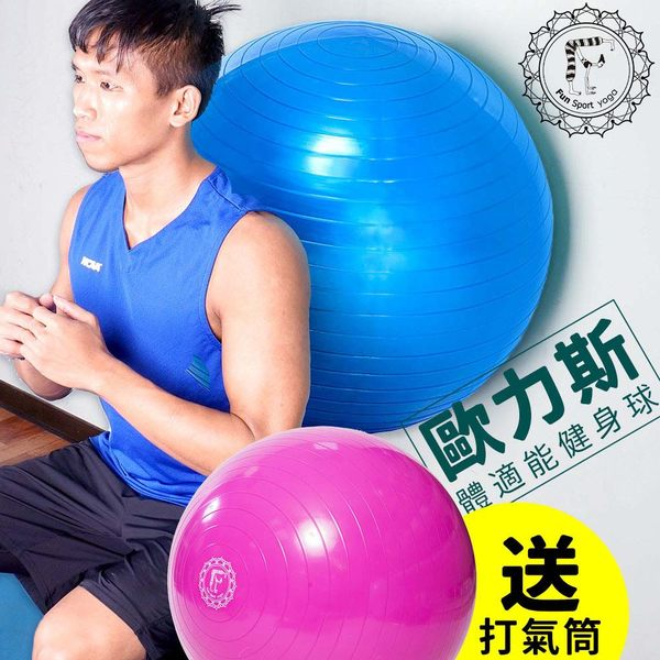 《Fun Sport》平面抗力球(65CM)台灣生產(桃紅色)- (韻律球/彈力球/瑜珈球)