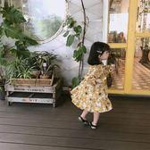 可愛2018冬裝新款兒童正韓休閒田園風女童黃色花朵裙禮物限時八九折