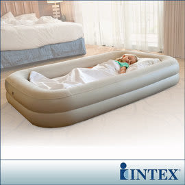 【INTEX】安全防滾落兒童植絨充氣床-附手壓幫浦 LC168(66810)