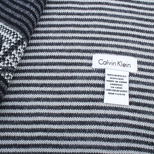 Calvin Klein雙拼色條紋圍巾(黑色)103214