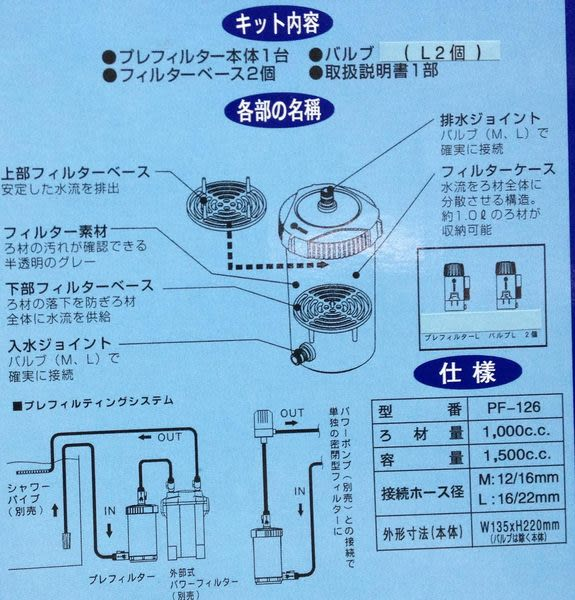 【西高地水族坊】日本阿諾 JAQNO 外置式前置過濾筒 PF-126