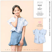 純棉日系荷葉袖直條紋花草印花上衣棉麻薄款透氣寬鬆淺藍女童【哎北比 】