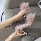 新款韓版公主鞋尖頭細跟高跟鞋氣質布面毛毛淺口單鞋女潮 享購