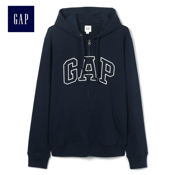 Gap男裝 Logo連帽舒適長袖休閒外套 443921-海軍藍