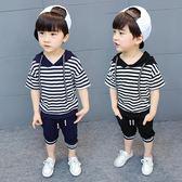 2男童3寶寶夏季條紋短袖套裝2018新款4兒童7連帽純棉兩件套6歲潮5·Ifashion