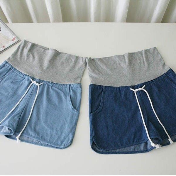 漂亮小媽咪 單寧托腹褲 【P1077EB】 綁帶 口袋 寬鬆 牛仔短褲 薄棉 孕婦托腹褲 孕婦褲 孕婦裝