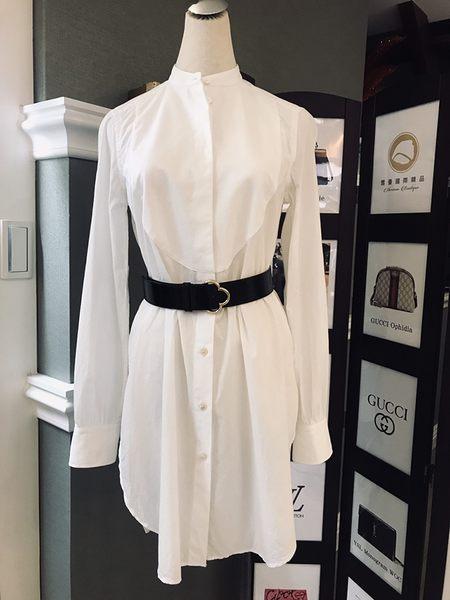 【雪曼國際精品】BURBERRY白色棉質長版襯衫 二手9成新(不包含皮帶)