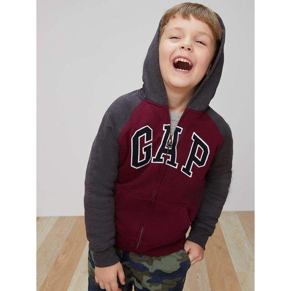 Gap男童 logo加絨兒童連帽休閒外套 大童長袖運動衫 358117-酒紅色