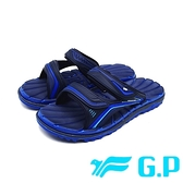 G.P (男女共用款)中性休閒舒適雙帶拖鞋 -藍 (另有黑、黑紅)