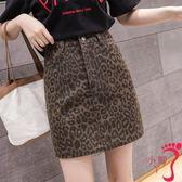 窄裙 豹紋印花短裙一步裙女士夏裝高腰百搭韓版a字牛仔半身裙