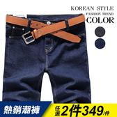 韓式作風有加大 ,28 38 腰,極簡風格皮革拼接牛仔短褲二色~DMA1371 1 ~