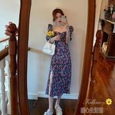 洋裝夏季新款法式復古收腰泡泡袖碎花洋裝女氣質中長款紫色裙子 暖心生活館
