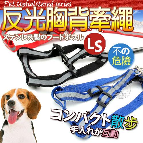 【培菓幸福寵物專營店】 dyy》寵物牽繩+胸背‧夜間反光材質寬度1.5cm