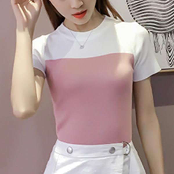 現貨-T恤-素面肩配白色針織棉短袖上衣 Kiwi Shop奇異果0616【SQC7213】