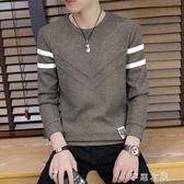 男士長袖t恤圓領打底衫男裝春季新款潮流韓版修身秋衣上衣服 七夕禮物