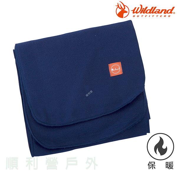 荒野WILDLAND 輕柔PILE保暖圍巾 W2010 深藍色 刷毛圍巾 不易產生靜電 OUTDOOR NICE