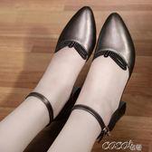 單鞋 新款涼鞋女夏季中跟包頭女鞋一字帶扣粗跟百搭舒適大碼單鞋女    coco衣巷