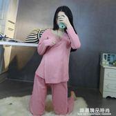 和服睡衣女夏季長袖純棉性感寬鬆哺乳可愛春秋清新韓版家居服套裝