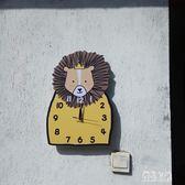 北歐獅子靜音卡通掛鐘客廳臥室鐘表可愛兒童房鐘表幼兒園教室鐘表 XN1660【優品良鋪】