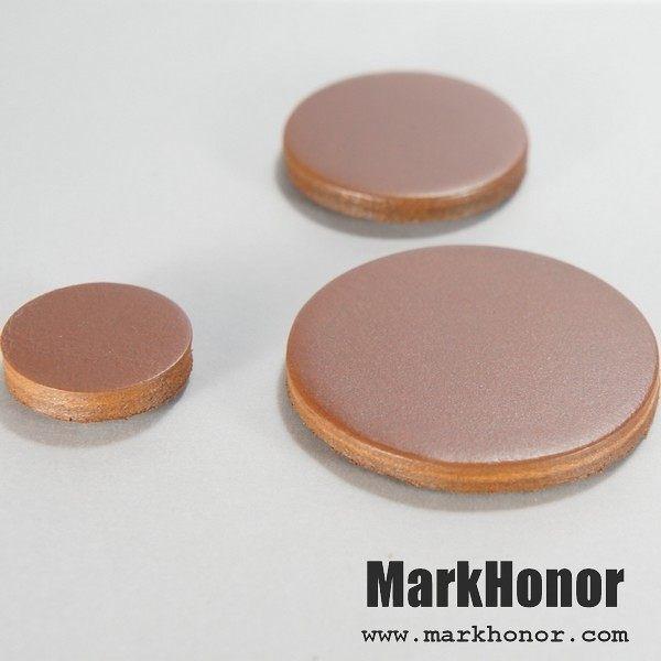 磁鐵 真皮 皮革 咖啡 圓直徑3公分 10個-Mark Honor