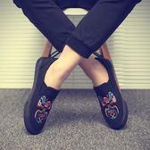 刺繡臉譜帆布鞋 男鞋一腳蹬懶人鞋 男休閒鞋《印象精品》q409