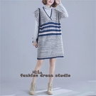 依Baby 針織背心裙 文藝大碼中長款無袖寬鬆針織毛衣