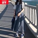 背帶裙子仙女超仙氣森系連衣裙2020新款韓版初中學生夏季長裙腳踝