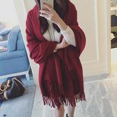 圍巾 韓版仿羊絨酒紅色大披肩兩用可愛長款加厚圍脖