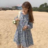 長袖洋裝 女裝韓版小清新娃娃裙寬鬆中長款碎花雪紡連身裙學生【蘇迪蔓】