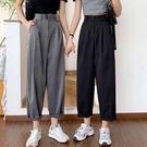 大碼胖mm西裝褲女夏季2021年新款蘿卜褲休閒褲高腰直筒寬鬆寬管褲 果果輕時尚