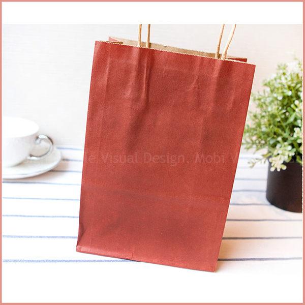 幸福朵朵*手提牛皮紙袋(紅色 15X20X8cm)小手提袋(禮物包裝)婚禮小物.禮物袋.手提紙袋