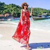 洋裝 夏雪紡碎花大尺碼吊帶連身裙洋裝波西米亞海邊度假長裙沙灘裙 【快速出貨】