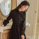 秋冬洋裝 2020新款冬季燈芯絨連身裙女秋冬法式小眾冬裙子小黑裙長袖襯衫裙