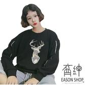EASON SHOP(GU8113)韓版純色幾何小鹿印花刷毛加厚圓領長袖T恤大學T女上衣服落肩寬鬆內搭衫素色棉T